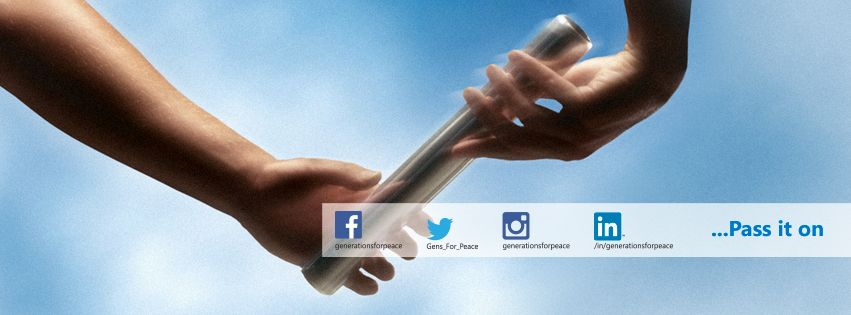 "two children's hands passing a baton to one another with a blue sky background, with the caption ""...Pass it on"", with the facebook, twitter, instagram and in addresses of Generations For Peace"