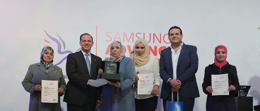 His Royal Highness Prince Feisal Ibn Al-Hussein of Jordan with Samsung Award winners