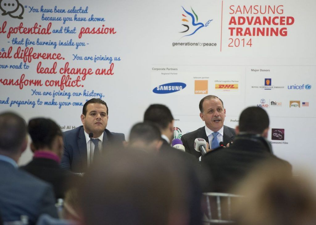 HRH Prince Faisal press conference at Generations For Peace Advanced Training 2014