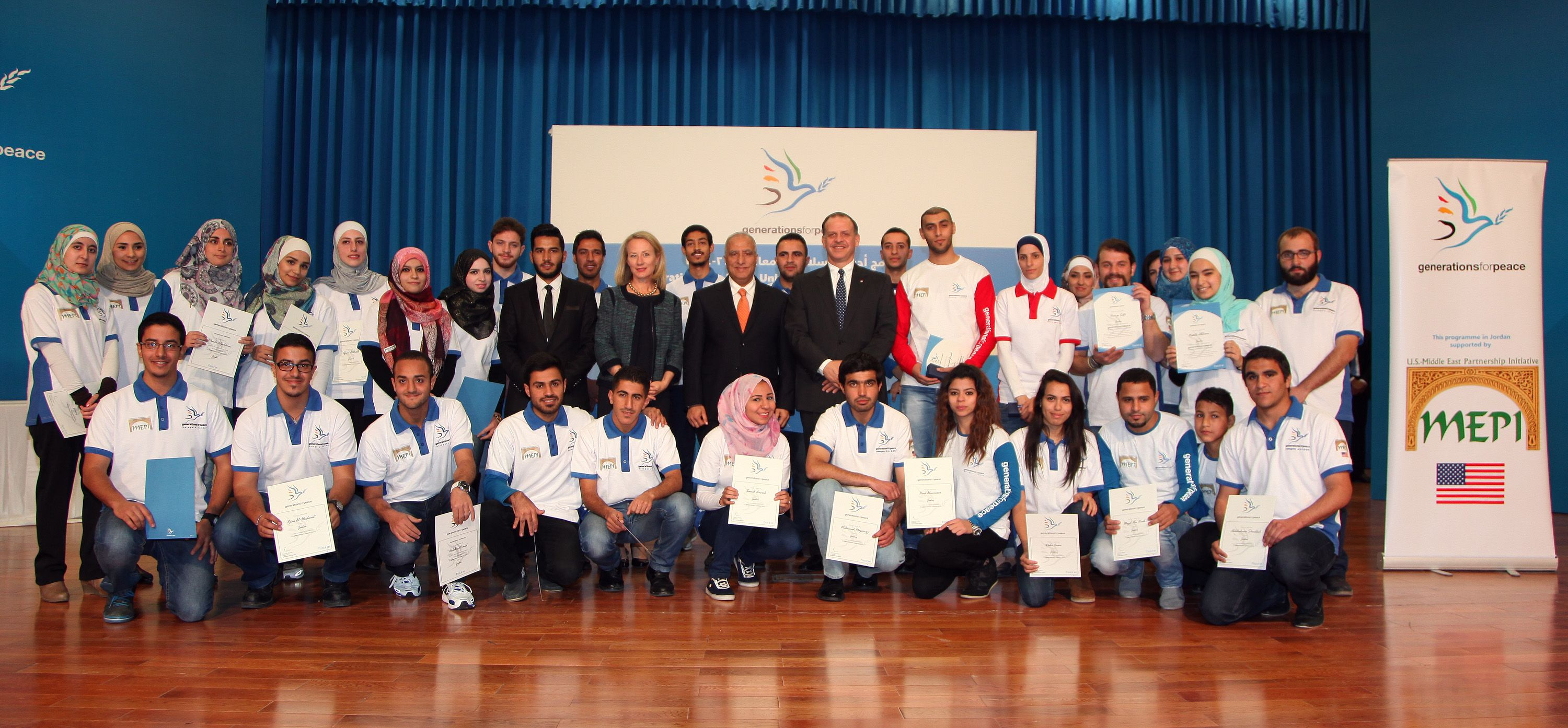 Group photo at the ceremony for the University of Jordan's Generations For Peace Club
