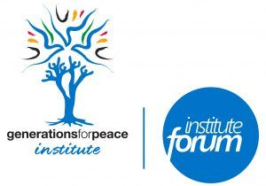 Generations for Peace Institute logo and Institute forum logo side by side