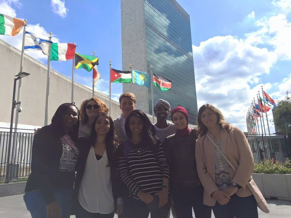 Volunteers and staff represent Generations For Peace at the United Nations Headquarters