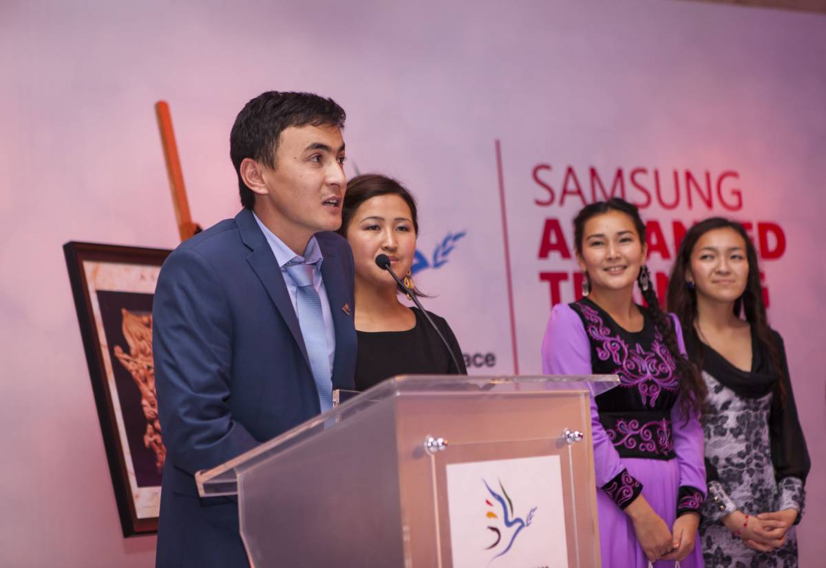 Volunteers from Kyrgyzstan, Republic of Macedonia, Ghana, and Palestine win the 2015 Samsung Generations For Peace Awards for Innovation, Quality, Impact and Sustainability