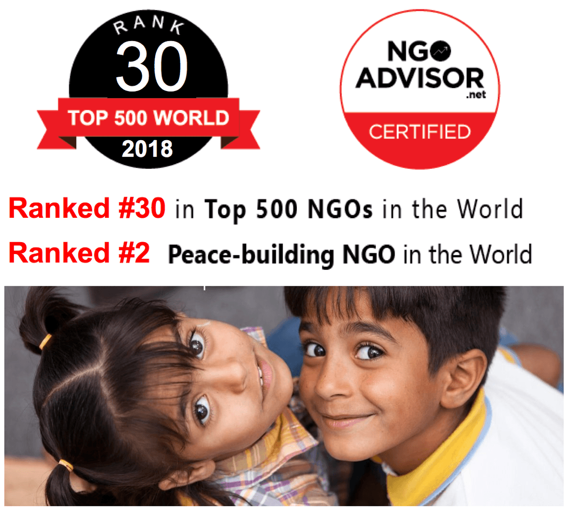 Generations For Peace ranked #30 in Top 500 NGOs in the World
